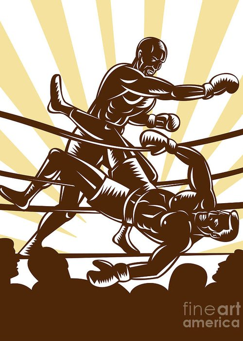 Boxing Greeting Card featuring the digital art Boxer Knocking Out by Aloysius Patrimonio