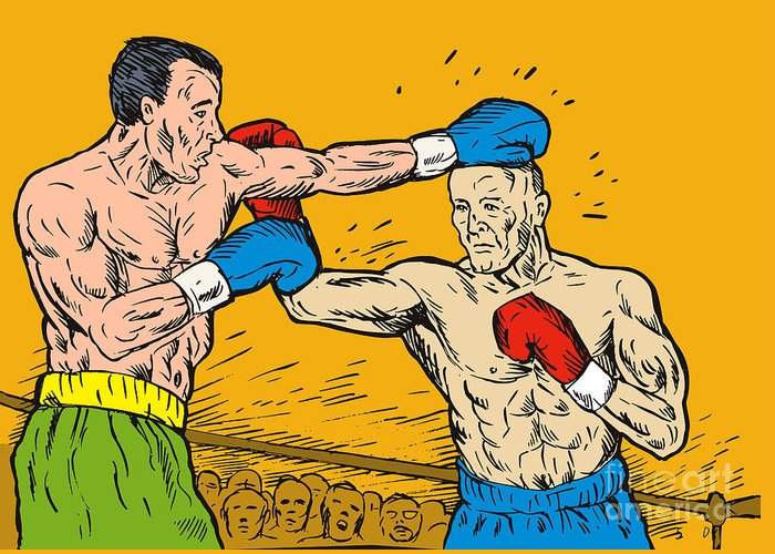 Boxing Greeting Card featuring the digital art Boxer Punching by Aloysius Patrimonio