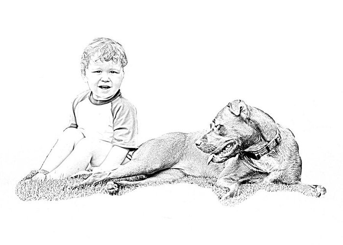 Boy Greeting Card featuring the photograph Boy And His Dog by Ralph Perdomo