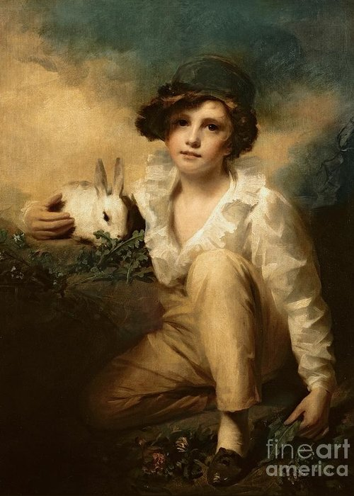 Boy Greeting Card featuring the painting Boy And Rabbit by Sir Henry Raeburn