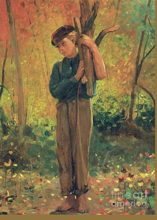 Countryside; Rural; Woodland; Wood; Trees; Child; Collecting; American Landscape; Homer Greeting Card featuring the painting Boy Holding Logs by Winslow Homer