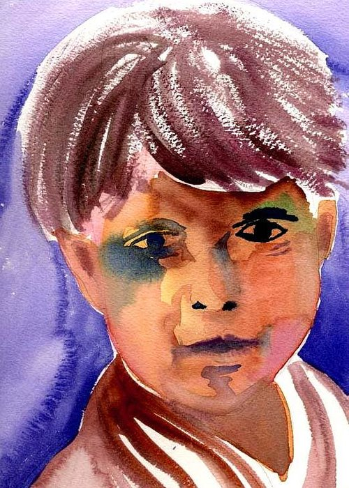 Boy Greeting Card featuring the painting Boy by Janet Doggett