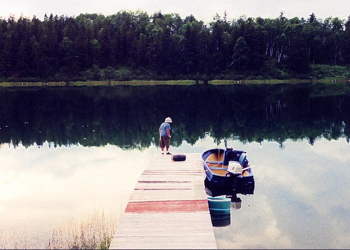 Lake Greeting Card featuring the photograph Boy On The Dock Ae by Lyle Crump