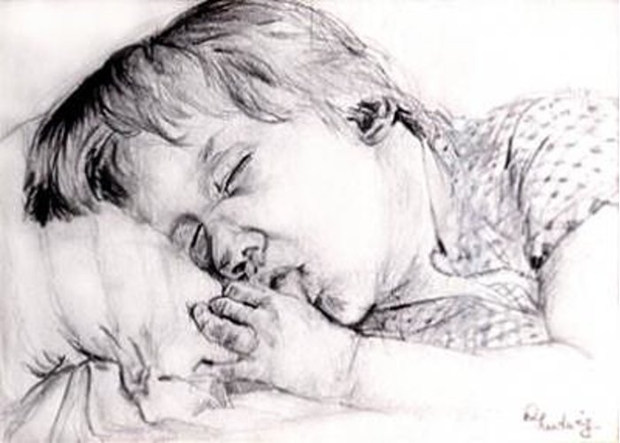 Boy Greeting Card featuring the drawing Boy Sleeps by Diana Ludwig