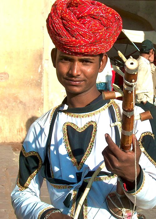 Boy With Instrument Greeting Card featuring the photograph Boy With A Flute by Dorota Nowak