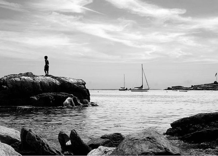 Beach Greeting Card featuring the photograph Boys At Boothbay Harbor by Filipe N Marques