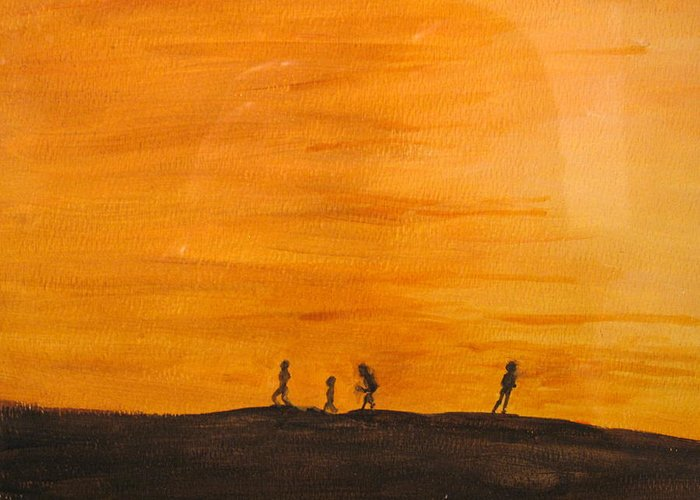 Boys Greeting Card featuring the painting Boys At Sunset by Ian MacDonald