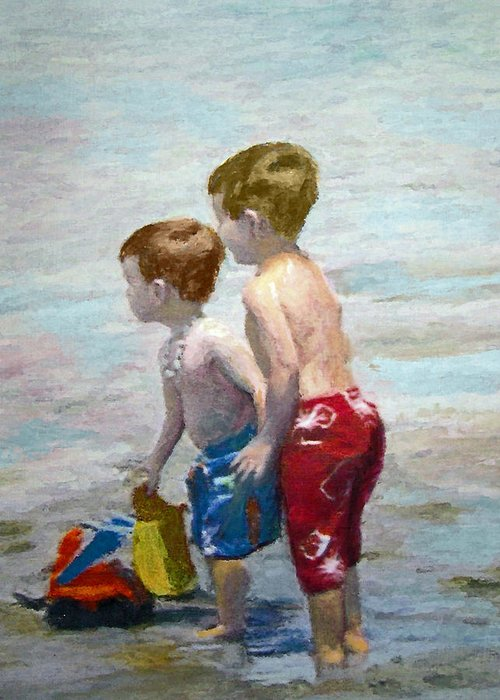 Water Painting Greeting Card featuring the painting Boys On The Beach by Lamarr Kramer
