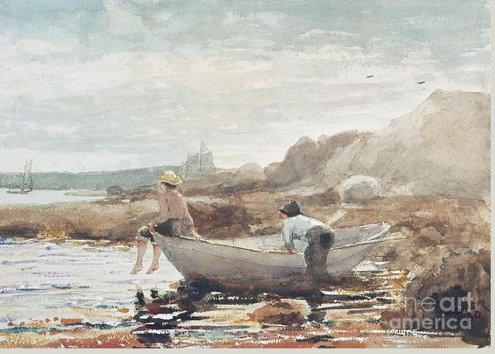 Boys On The Beach (w/c On Paper) By Winslow Homer (1836-1910) Rowing Boat; Fishing; Boy; Male; Children; Child; Playing; Summer; Coast; Coastal; Rocks; Rocky; Boat Greeting Card featuring the painting Boys On The Beach by Winslow Homer