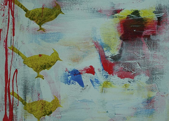 Abstract Greeting Card featuring the painting Bp 1 by Betty OHare