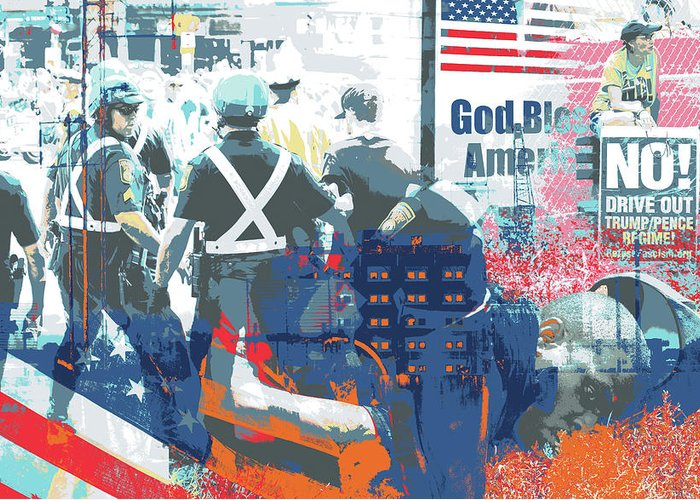 Boston Greeting Card featuring the mixed media Boston Police Busted by Shay Culligan