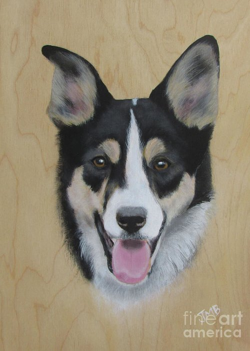Border Collie Greeting Card featuring the painting Bprder Collie Shea by Janice M Booth