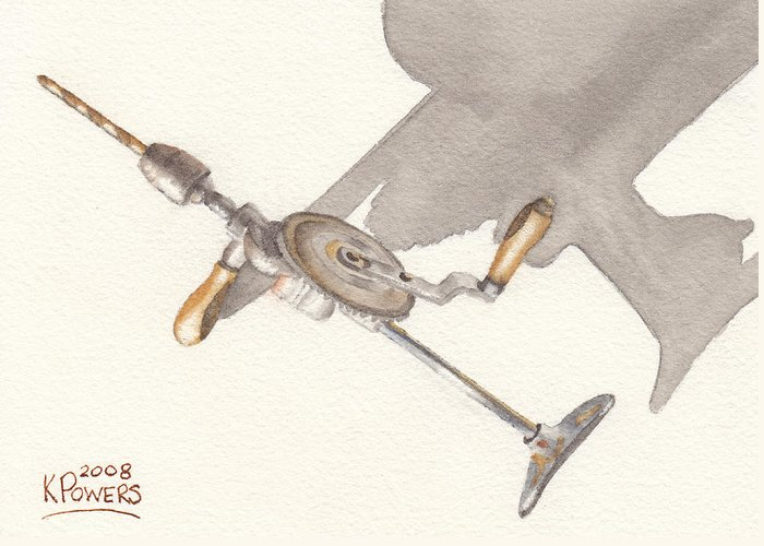 Brace Greeting Card featuring the painting Brace And Bit by Ken Powers