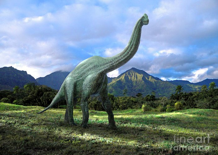 Dinosaur Greeting Card featuring the mixed media Brachiosaurus In Meadow by Frank Wilson