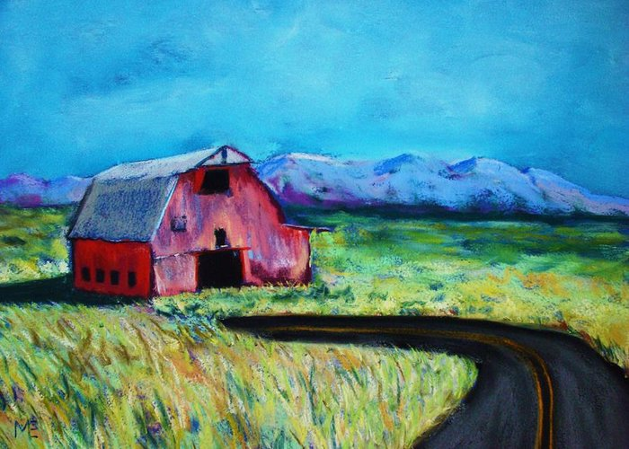 Barn Greeting Card featuring the pastel Bradley's Barn by Melinda Etzold