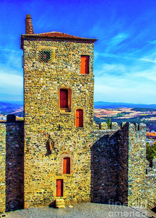 Braganca Greeting Card featuring the photograph Braganca Castle Tower by Roberta Bragan
