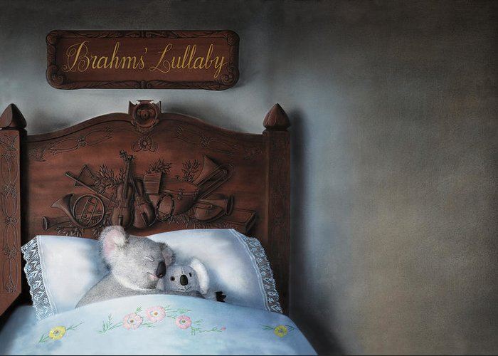 Koala Greeting Card featuring the painting Brahms' Lullaby by Philippe Plouchart