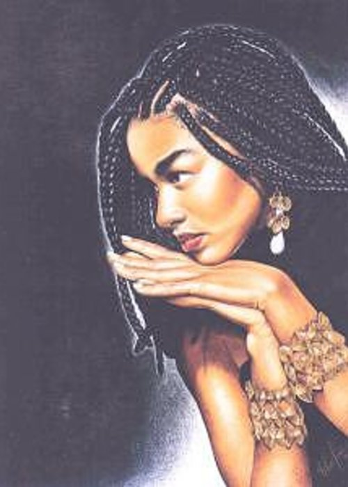 Woman W/folded Hands Greeting Card featuring the drawing Braided Beauty by Chamar Cooper