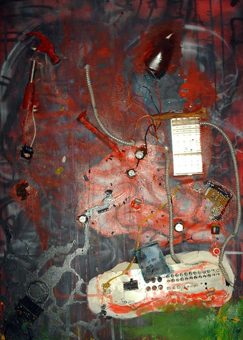 Collage Greeting Card featuring the painting Brain Surgery by Leigh Odom
