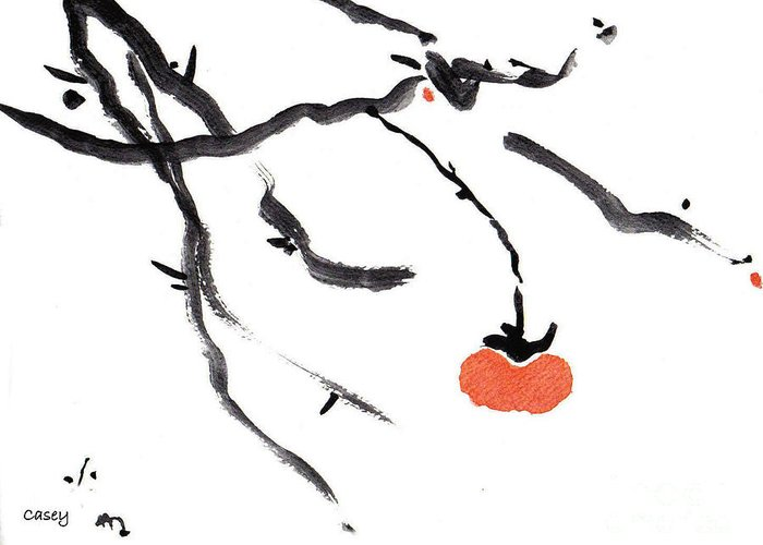Sumi Greeting Card featuring the painting Branches With A Persimmon by Casey Shannon