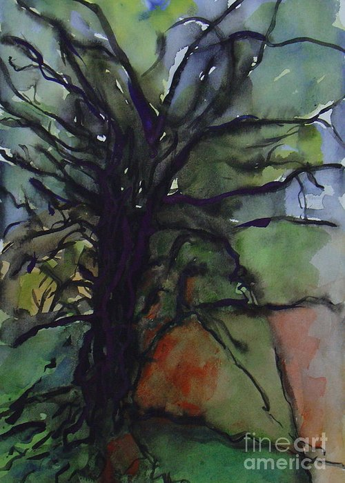 Tree Landscape Abstract Watercolor Original Blue Green Greeting Card featuring the painting Branching by Leila Atkinson