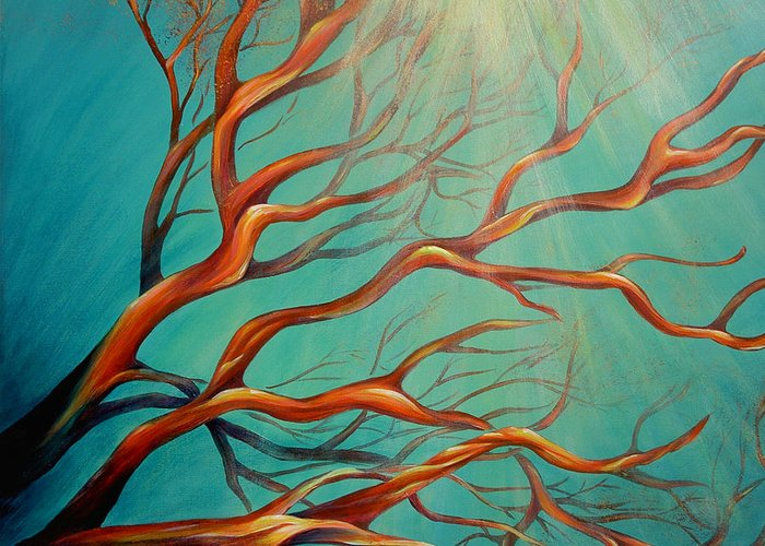 Coral Sea Ocean Underwater Beach Aquatic Reef Diving Contemporary Close-up Aquatica Series Greeting Card featuring the painting Branching Out by Dina Dargo