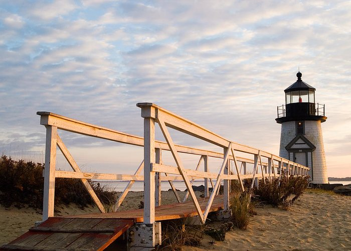 Nantucket Greeting Card featuring the photograph Brant Point Lighthouse And Walkway - Nantucket by Henry Krauzyk