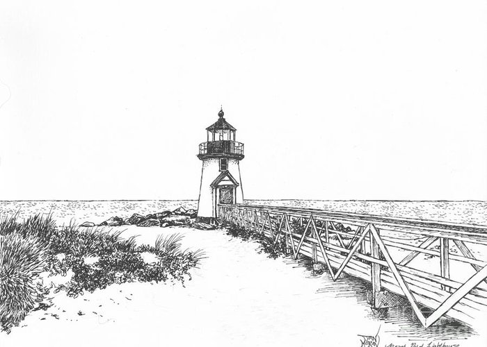 Lighthouse Greeting Card featuring the drawing Brant Point Lighthouse by Dan Moran