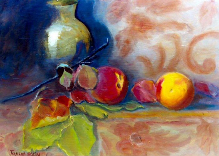 Still Life.brass Greeting Card featuring the painting Brass And Peaches by Jeanene Stein