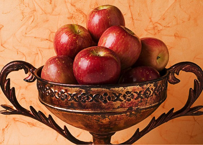 Apple Greeting Card featuring the photograph Brass Bowl With Fuji Apples by Garry Gay