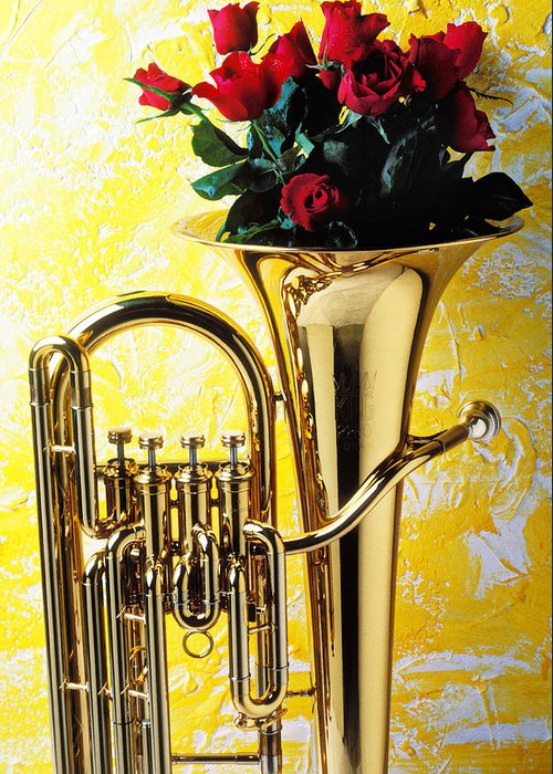 Tuba Greeting Card featuring the photograph Brass Tuba With Red Roses by Garry Gay