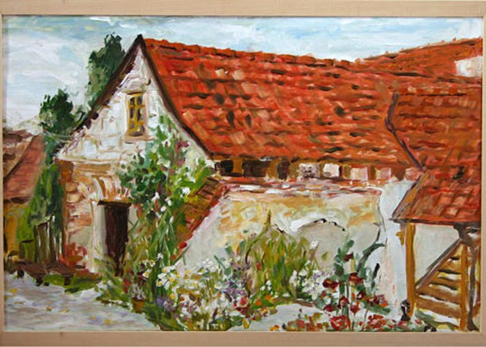 Landscape Greeting Card featuring the painting Bratri Truhlari by Pablo de Choros
