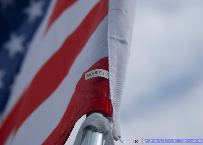 American Flag Greeting Card featuring the photograph Brave New World by Jonathan Ellis Keys