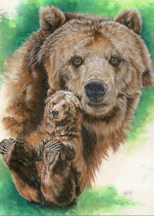 Bear Greeting Card featuring the mixed media Brawny by Barbara Keith