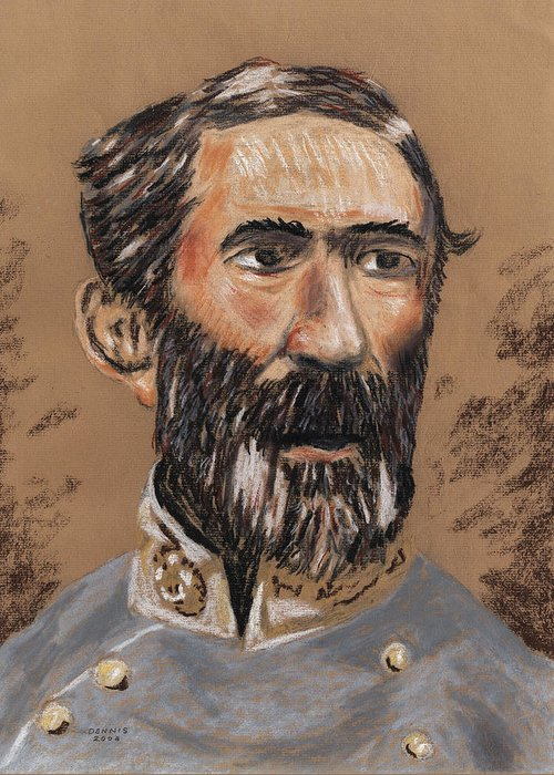 Military Greeting Card featuring the pastel Braxton Bragg by Dennis Larson