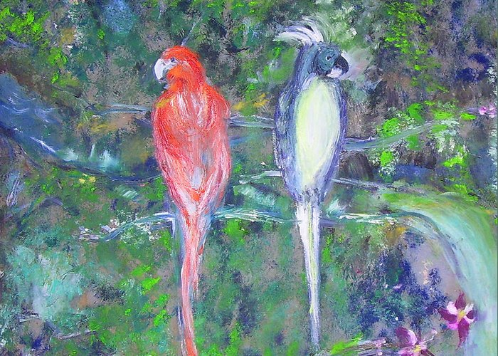 Wildlife Greeting Card featuring the painting Brazilian Parrots by Michela Akers