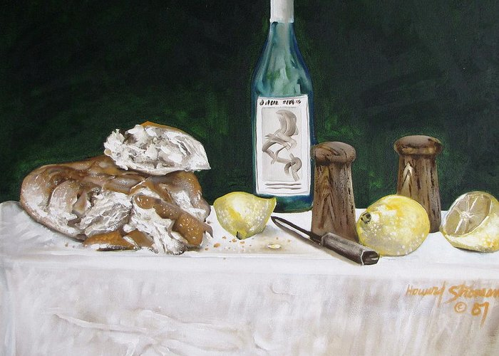 Stil Life;lemons;wine;bread;table Setting;salt;pepper;food Greeting Card featuring the painting Bread And Wine by Howard Stroman