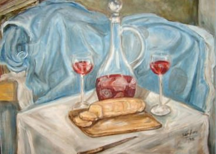 Bread And Wine Bottle On Table With Glasses Blue Material In Background Greeting Card featuring the painting Bread And Wine by Joseph Sandora Jr