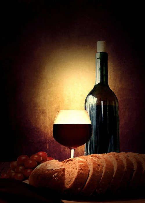 Wine Greeting Card featuring the photograph Bread And Wine by Lourry Legarde