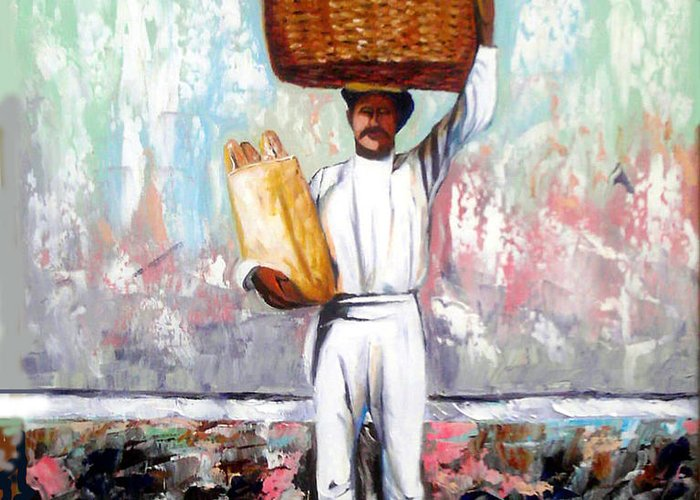 Bread Greeting Card featuring the painting Breadman by Jose Manuel Abraham