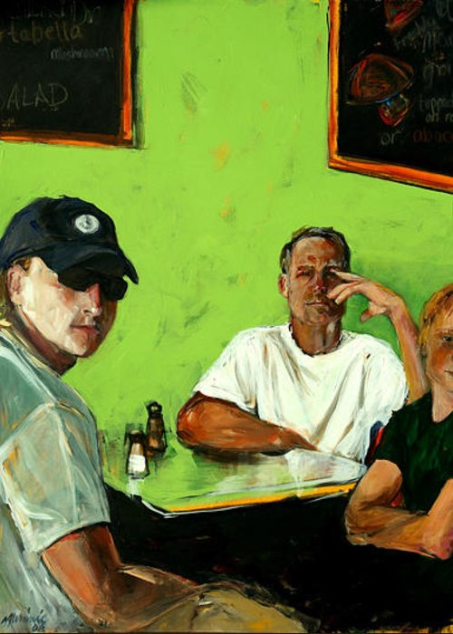 Portrait Greeting Card featuring the painting Breakfast In New Jersey-i by Michelle Winnie