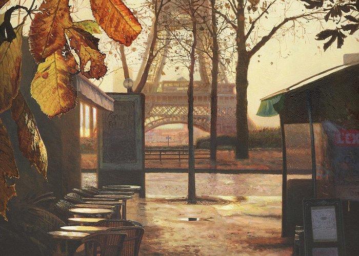 Breakfast Greeting Card featuring the painting Breakfast In Paris by Helen Parsley