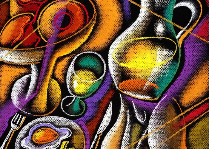 Balance Breakfast Cafe Carry Carrying Close Up Close-up Coffee Coffee Cup Color Color Image Colour Cup Dish Drawing Drink Food Food And Drink Fruit Glass Hand Healthy Eating High Angle High Angle View Hold Holding Illustration Illustration And Painting Juice One One Person People Person Plate Platter Restaurant Server Service Serving Tray Unrecognizable Person Vertical Waiter Decorative Painting Abstract Art Greeting Card featuring the painting Breakfast by Leon Zernitsky