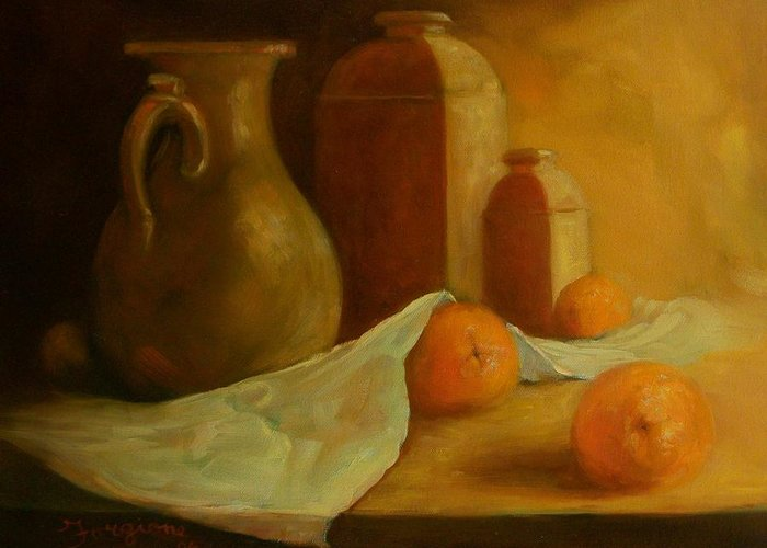 Orange Greeting Card featuring the painting Breakfast Oranges by Tom Forgione