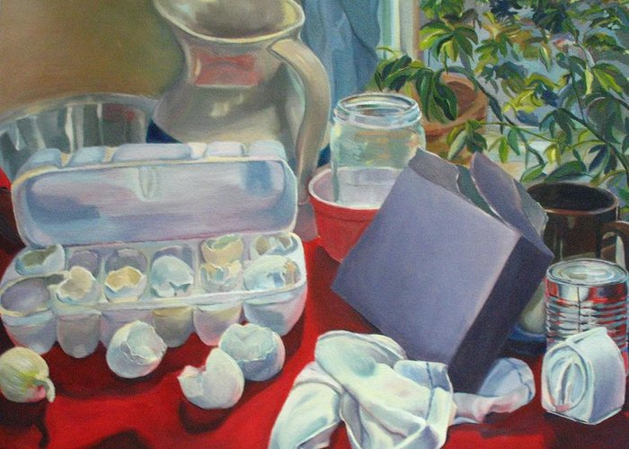 Still Life Greeting Card featuring the painting Breakfast Tablescape by Stephanie Allison