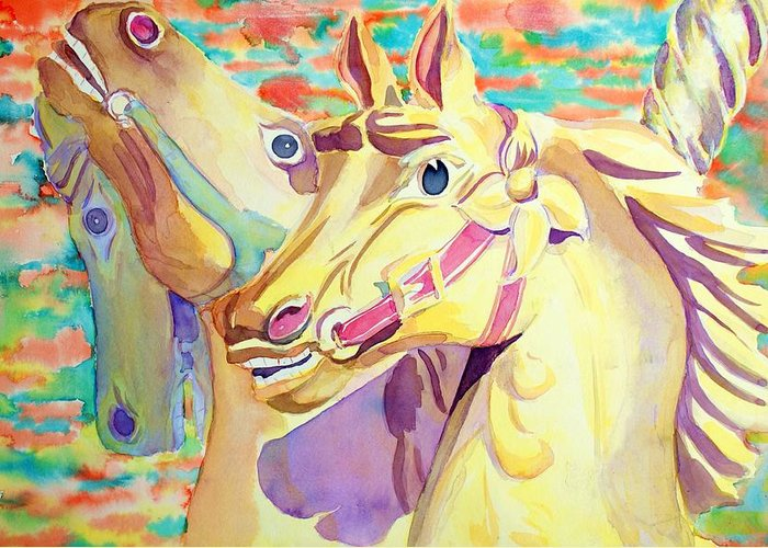Carousel Greeting Card featuring the painting Breaking Free by Janice Gell