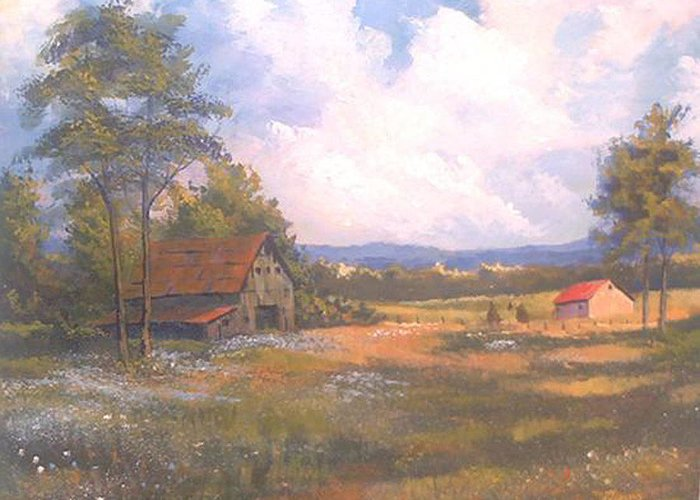 Landscape Greeting Card featuring the painting Breaking Through by Curt Curt