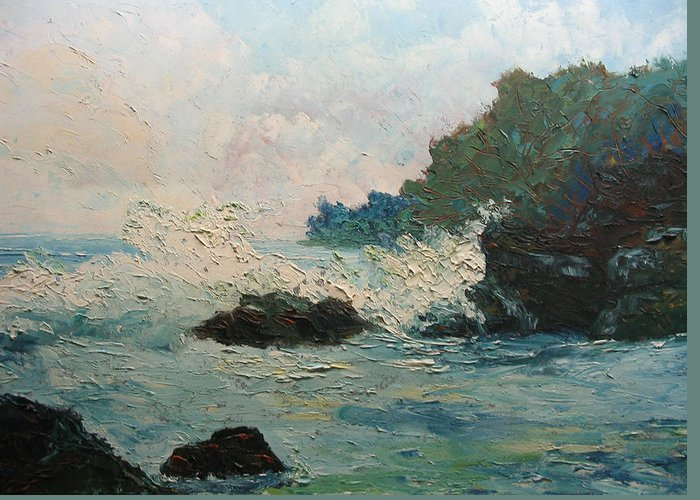 Landscape Greeting Card featuring the painting Breaking Waves - Number One by Belinda Consten