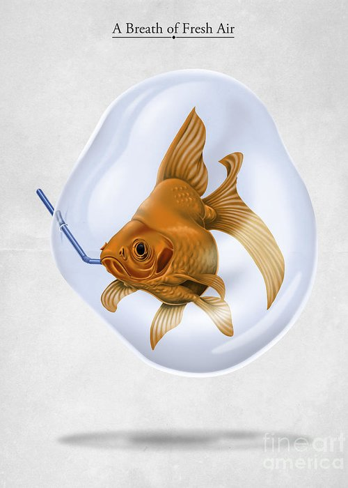 Goldfish Greeting Card featuring the drawing Breath Of Fresh Air by Rob Snow