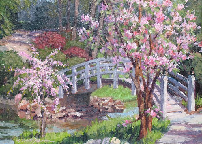 Sarah Duke Garden Greeting Card featuring the painting Breath Of Spring by L Diane Johnson